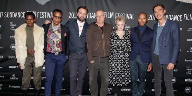 Niza Jay Ncoyini, Bongile Mantsai, John Trengrove, Eric Lagesse, Cait Pansegrouw, Nakhane Toure, and Elias Ribeiro attend the 'The Wound' Premiere on day 4 of the 2017 Sundance Film Festival at Prospect Square on January 22, 2017 in Park City, Utah.