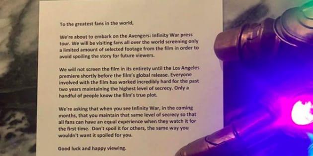 """Dans une lettre publiée sur leur compte Instagram, Anthony et Joe Russo demandent aux fans de ne pas spoiler """"Avengers : Infinity War""""."""