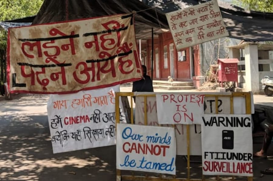 Banners on the FTII campus on Tuesday.