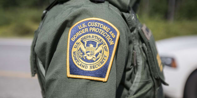 A patch on the uniform of a U.S. Border Patrol agent at a highway checkpoint on Aug. 1, 2018 is shown in West Enfield, Maine.