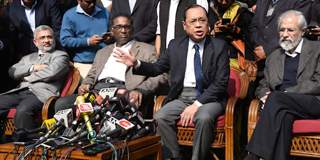 NEW DELHI, INDIA - JANUARY 12: Supreme Court Judges ( L TO R ) Kurian Joseph, J Chelameswar, Ranjan Gogoi and Madan Lokur addressing the media  on January 12, 2018 in New Delhi, India. Four Supreme Court judges took the unprecedented step of publicly criticising chief justice Dipak Misra over the allocation of cases at a press conference on Friday, warning a lack of impartiality could imperil Indias democracy. (Photo by Arvind Yadav/Hindustan Times via Getty Images)