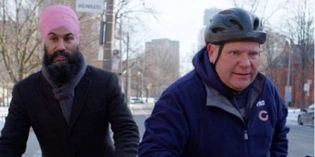 """NDP Leader Jagmeet Singh and former Toronto city councillor Doug Ford will appear in an episode of TVO's """"Political Blind Date."""""""