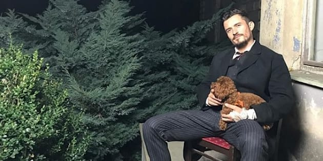 Orlando Bloom et son chien Mighty.