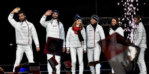 Les médaillés français de Pyeongchang acclamés à Grenoble le 26 février 2018.