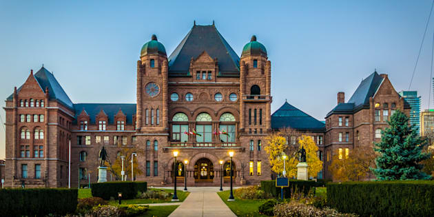 A photo of the Ontario legislature building in Queen's Park in Toronto.