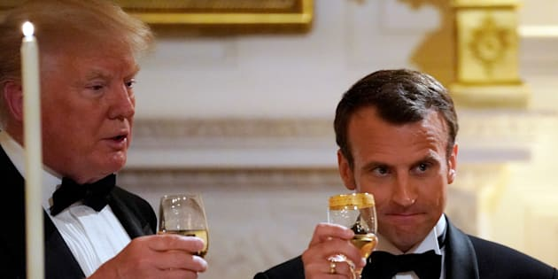 French President Emmanuel Macron toasts U.S. President Donald Trump during a State Dinner at the White House in Washington, U.S. April 24, 2018. REUTERS/Carlos Barria