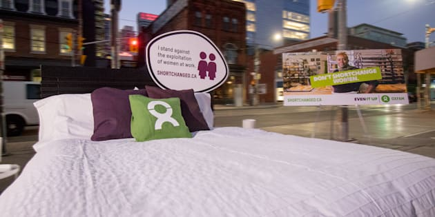 Oxfam Canada's 'Clean A Hotel Room Challenge' in downtown Toronto, Ont. on Oct. 17, 2017