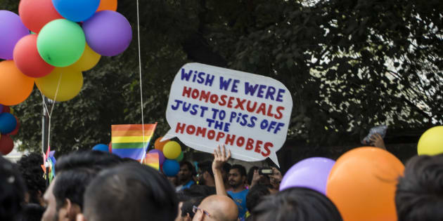 NEW DELHI, INDIA - NOVEMBER 12: Indian members and supporters of the lesbian, gay, bisexual, transgender (LGBT) community take part in a pride parade on November 12, 2017 in New Delhi, India