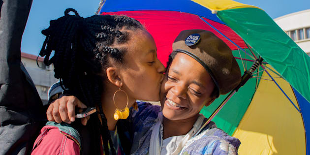 The Namibian Lesbians, Gay, Bisexual and Transexual (LGBT) community pride Parade in the streets of the Namibian Capitol on July 29, 2017 in Windhoek.