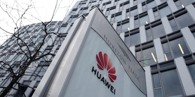 Huawei's logo in front of the company's local offices in Warsaw, Poland, Jan. 11. Poland has charged a Huawei manager and a former Polish security official with spying for China.