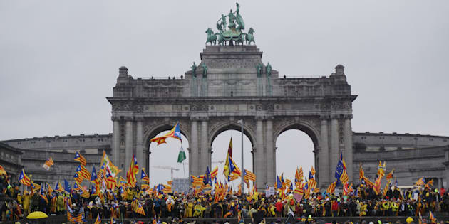 La manifestación en el parque del Cincuentenario en Bruselas.