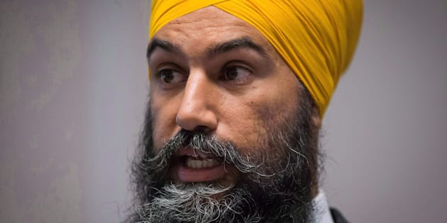 NDP Leader Jagmeet Singh speaks to caucus members in Surrey, B.C., on Sept. 12, 2018.
