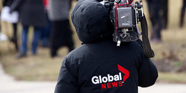 A Global News insignia on a cameraman's jacket, Montreal, Que., April 8, 2016.