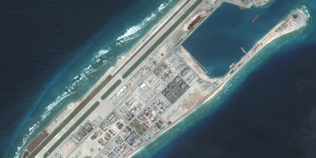 Overview of the Fiery Cross Reef located in the South China Sea. Fiery Cross is located in the western part of the Spratly Islands group.