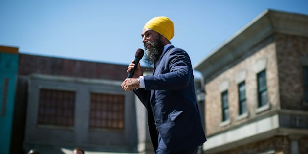NDP Leader Jagmeet Singh announces he will run in a byelection in Burnaby South, during an event at an outdoor film studio, in Burnaby, B.C., on Aug. 8, 2018.