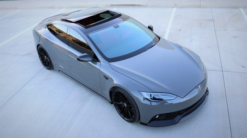 This modified tesla model s packs a 40 000 paint job for Nardo grey paint cost