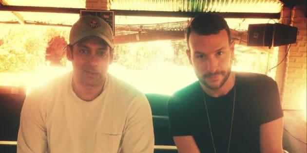 (L-R) Bollywood star Salman Khan and Dutch DJ-producer Don Diablo at the former's farmhouse in 2014.