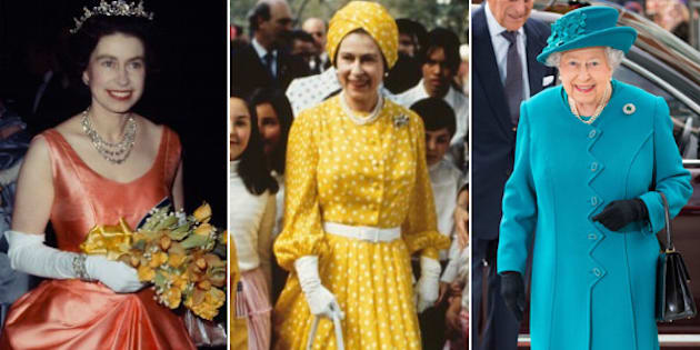 From left: Queen Elizabeth at a RADA performance in 1964; on a state visit to Mexico in 1975; and at the opening of the National Cyber Security Centre in 2017.