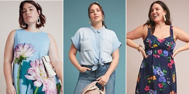 Three of the outfits from APlus, Anthropologie's new plus-sized collection.