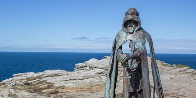 """The """"Gallos"""" sculpture at the site ofTintagel Castle. Legend has it that King Arthur was born at the site, andarchaeologists now say they've found evidence of a Dark Ages palace that dates to that time period."""