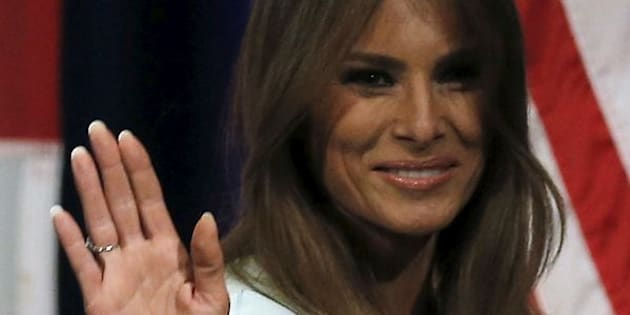 Melania Trump, wife of U.S. Republican presidential candidate Donald Trump walks off the stage at a campaign event in Milwaukee, Wisconsin, United States, April 4, 2016. REUTERS/Jim Young