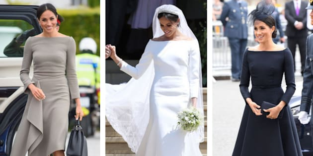 Meghan Markle Wearing Boatneck Dresses Left To Right On A Trip Ireland