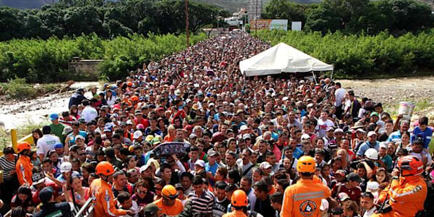 Venezuelans cross the Simon Bolivar bridge linking San Antonio del Tachira, in Venezuela with Cucuta in Colombia.