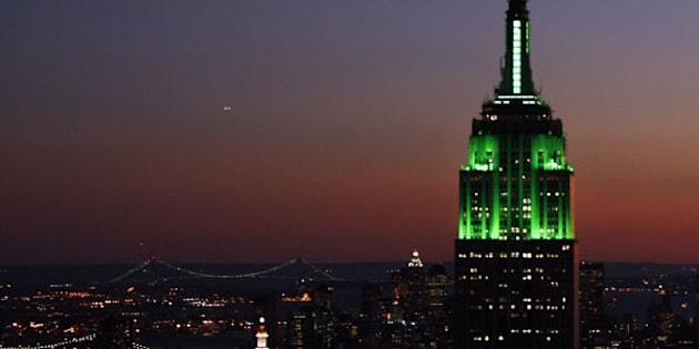 The Empire State Building will be lit up in green on Wednesday night to celebrate the end of Ramadan. Above, the building is illuminated for the holiday in October 2007.