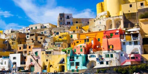 Colorful island of Procida, Naples, beautiful spot in the Mediterranean Sea Coast, Italy