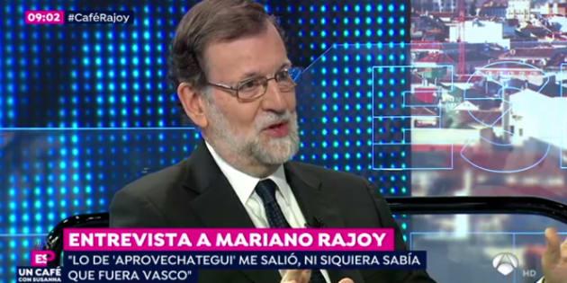 Mariano Rajoy, durante la entrevista con Susanna Griso.