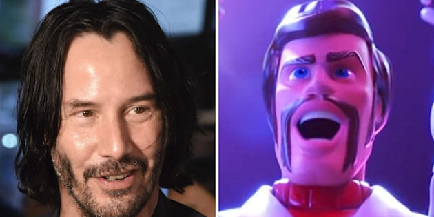 "Keanu Reeves plays Duke Caboom, Canada's greatest stuntman, in ""Toy Story 4."""