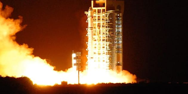 China's quantum satellite - nicknamed Micius after a 5th century BC Chinese scientist - blasts off from the Jiuquan satellite launch centre in China's northwest Gansu province on August 16, 2016. China launched the world's first quantum satellite on August 16, state media reported, in an effort to harness the power of particle physics to build an 'unhackable' system of encrypted communications. / AFP / STR / China OUT        (Photo credit should read STR/AFP/Getty Images)