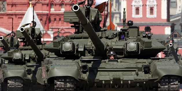 Russian T-90A tanks roll through Moscow's Red Square during a Victory Day parade in May, marking the 1945 defeat of Nazi Germany.