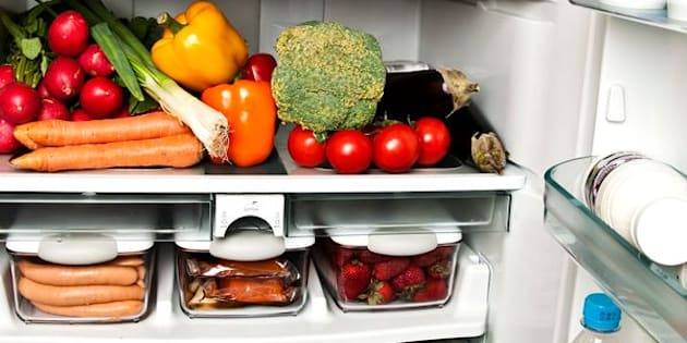 Refrigerator full of food close up