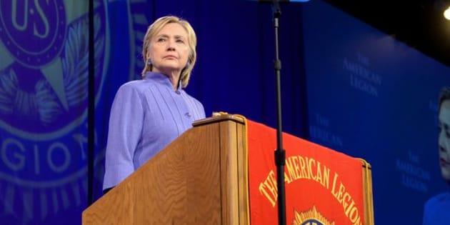 Democratic presidential nominee Hillary Clinton addresses the National Convention of the American Legion in Cincinnati, Ohio, U.S., August 31, 2016. REUTERS/Bryan Woolston