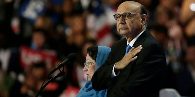 Khizr Khan, who's son Humayun (R)  was killed serving in the U.S. Army ten years after September 11, 2001, places his hand over his heart at the Democratic National Convention in Philadelphia, Pennsylvania, U.S. July 28, 2016. REUTERS/Gary Cameron
