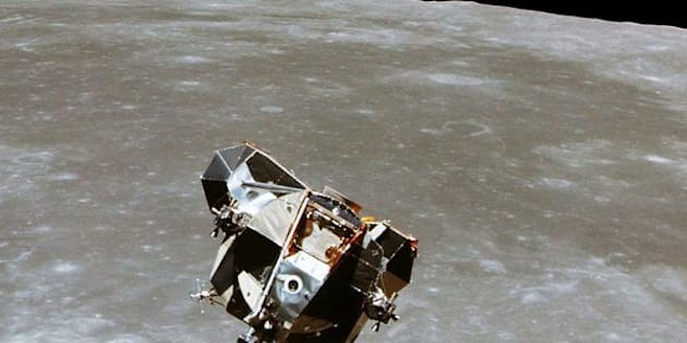 The Apollo 11 Lunar Module ascent stage, with astronauts Neil A. Armstrong and Edwin E. Aldrin Jr. aboard, is photographed from the Command and Service Modules in lunar orbit in this July, 1969 file photo.