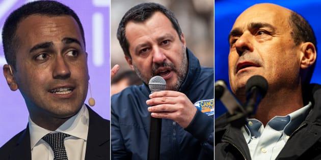 Di Maio, Salvini e Zingaretti