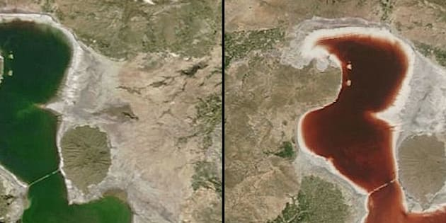 Bloody Transformation: The waters of Lake Urmia changed from green on April 23 to red on July 18, as seen by a NASA satellite.