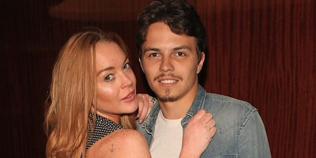 "Lindsay Lohan and Egor Tarabasov attend a private screening with Alice Temperley of Disney's ""Alice Through The Looking Glass"" at the Bulgari Hotel on May 26, 2016 in London, England."