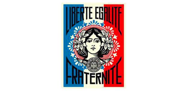 """""""Liberté, égalité, fraternité"""", l'oeuvre de Shepard Fairey dans le bureau du président."""