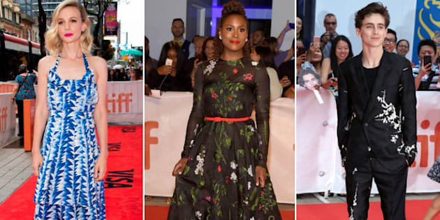 From left to right: Carey Mulligan at the premiere of her film 'Wildlife,' Issa Rae at the premiere of 'The Hate U Give,' and Timothée Chalamet at the premiere of 'Beautiful Boy' are among our favourite TIFF red carpet outfits.