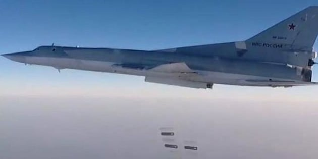 SYRIA - AUGUST 14, 2016: A Tupolev Tu-22M3 long-range bomber carries out airstrikes against ISIS targets in the districts to the South West, East and North East of the Syrian city of Dayr al-Zawr using high-explosive fragmentation weapons. Russian Defence Ministry's Press and Information Department/TASS (Photo by TASS\TASS via Getty Images)
