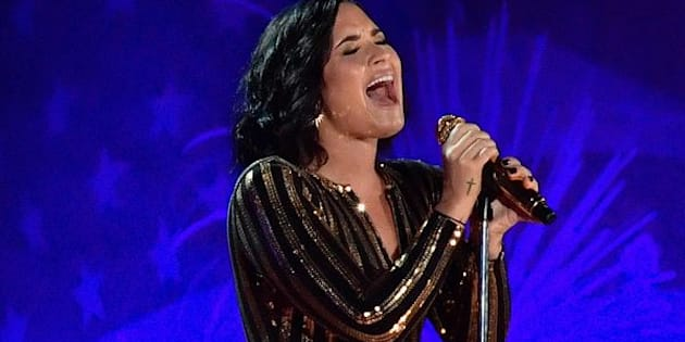 BOSTON, MA - JULY 03:  Demi Lovato performs at the Boston Pops Fireworks Spectacular rehearsal at the DCR Hatch Shell on the Charles River, to be broadcast on cbs on July 4, on July 3, 2016 in Boston, Massachusetts.  (Photo by Paul Marotta/Getty Images)