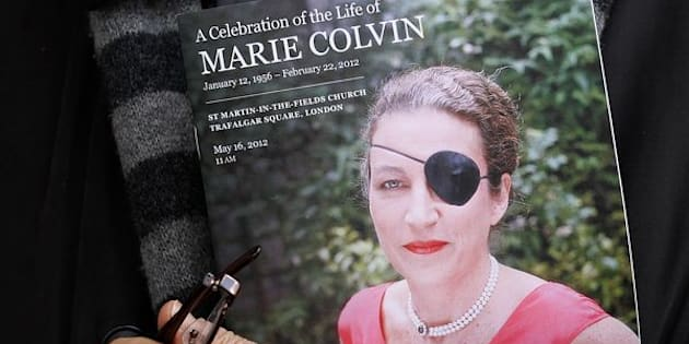 Journalist Marie Colvin's trademark black eye patch was a testament to her character. She lost an eye under government fire in Sri Lanka in 2001.