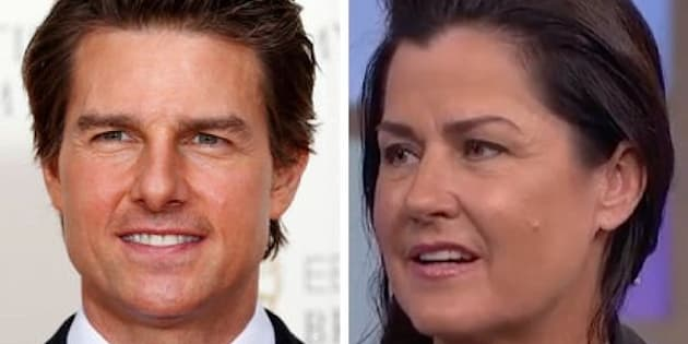 (L) Tom Cruise and actress Cathy Schenkelberg (R).
