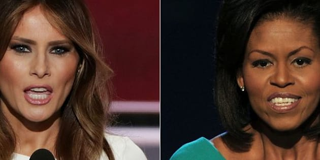(COMBO) This combination of file pictures created on July 19, 2016 shows Melania Trump (L), wife of presumptive Republican presidential candidate Donald Trump, addressing delegates on the first day of the Republican National Convention on July 18, 2016 at Quicken Loans Arena in Cleveland, Ohio, on July 18, 2016 and Michelle Obama, wife of US Democratic presidential candidate Barack Obama, greeting the audience at the Democratic National Convention 2008 at the Pepsi Center in Denver on August 25, 2008. Donald Trump faced an embarrassing plagiarism scandal on July 19, 2016 that tarnished his wife Melania's prime-time speech to a Republican National Convention already roiled by an opening day rank-and-file revolt. It was a rough start to the four-day buildup to Trump's presidential nomination, one designed for maximum media exposure for the Republican standard bearer and his supporters.  / AFP / ALEX WONG AND PAUL J. RICHARDS        (Photo credit should read ALEX WONG,PAUL J. RICHARDS/AFP/Getty Images)