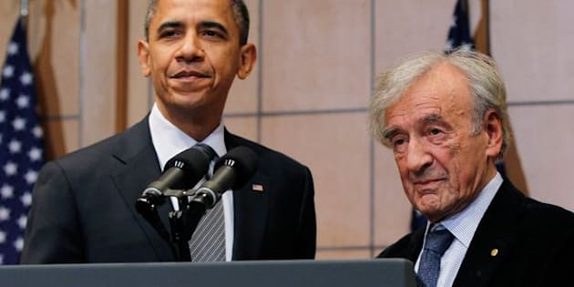 Obamaand Wiesel at theUnited States Holocaust Museum in Washington, D.C., on April 23, 2012.