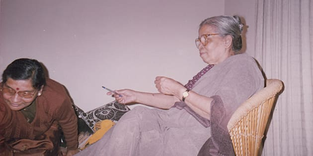 A file photo of Mahasweta Devi with the author in Delhi on 17 February, 2002.