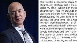 Il papà di Amazon vuole fare beneficenza e chiede a voi come
